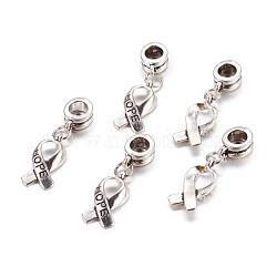 Perles européennes de pendentif en alliage , ruban de conscience de cancer du sein, argent antique, 30mm, Trou: 5mm(X-PALLOY-JF00001-03)