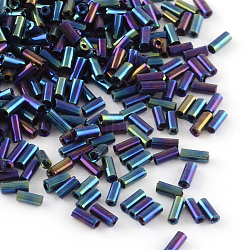 Tube Plated Glass Bugle Beads, Iris Round, Blue Plated, 4~4.5x2mm, Hole: 1mm; about 1556pcs/50g(X-SEED-R011-704)