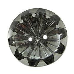 2 acryliques -hole boutons strass à coudre, darkgray, plat rond, sur 25 mm de diamètre, 7 mm d'épaisseur, trou: 2 mm(X-AR3237-25MM-27)