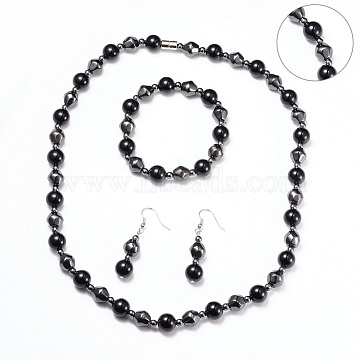 Necklaces & Stretch Bracelets & Dangle Earrings Jewelry Sets, with Stainless Steel Findings, Magnetic Synthetic Hematite and Natural Black Agate Beads, Platinum, 20.6inches(52.5cm); 49.5mm, Pin: 0.6mm; 1-7/8inches(4.9cm)(SJEW-I198-01P)