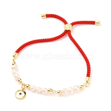 Adjustable Nylon Cord Slider Bracelets, Bolo Bracelets, with Natural Pearl Beads, Brass Beads and Brass Enamel Charms, Flat Round, Red, Cross Pattern, Inner Diameter: about 2-1/4~3-1/2 inches(5.7~9cm)(BJEW-JB05544-02)