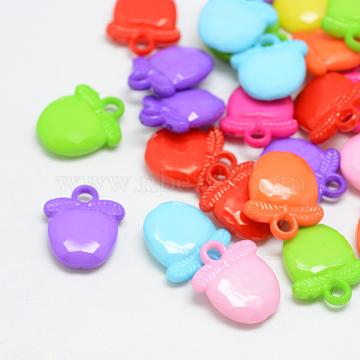 Opaque Acrylic Pendants, Apple, Mixed Color, 20x17x5mm, Hole: 3mm(X-SACR-T036-M)