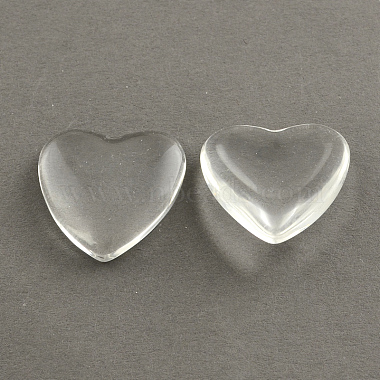 12mm Clear Heart Glass Cabochons