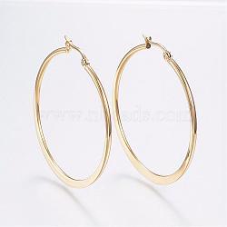 304 grandes créoles en acier inoxydable, boucles d'oreilles hypoallergéniques, or, 44~46x2 mm; broches: 0.7x1 mm(EJEW-F105-18G)