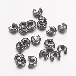 Couvertures de perles à sertir en fer, sans cadmium et sans plomb, gunmetal, taille: environ 3mm de diamètre, Trou: 1.2~1.5mm, environ 200pc / 10g(X-IFIN-H028-B)