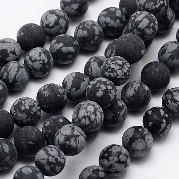 Natural Snowflake Obsidian Beads Strands, Frosted, Round, 12mm, Hole: 1mm; about 32pcs/strand, 15.1inches(G-D674-12mm)
