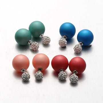 Крепкого пластика жемчужина с полимерной глины Rhinestone мяч серьги стержня, разноцветные, 8~16 мм, штифты : 0.8 мм(EJEW-N0005-M)