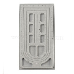 Plastic Flocking Bead Design Boards, Beads Trays, Necklace Design Boards, Gray, Size: about 27cm wide, 49cm long, 2cm thick(X-TOOL-H001-1)