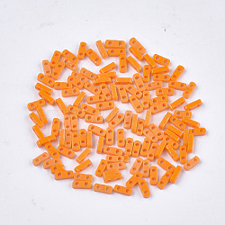 2-Hole Opaque Glass Seed Beads, Rectangle, Orange, 4.5~5x2x1~1.5mm, Hole: 0.5~0.8mm(SEED-S023-21A-01)