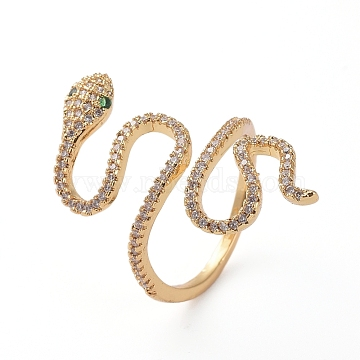Adjustable Brass Finger Rings, Cuff Rings, Open Rings, with Micro Pave Cubic Zirconia, Long-Lasting Plated, Snake, Golden, Size 7, 17mm(X-RJEW-G096-40G)