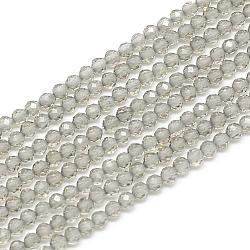 """Chapelets de perles d'obsidienne de glace naturelle, facette, rond, 3x2.5mm, trou: 0.5mm; environ 142 pcs/chapelet, 15.9""""(G-S152-12-3mm)"""