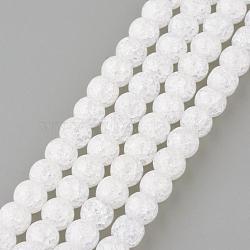 Синтетический хрустят кварц бисер пряди, круглые, окрашенные, снег, 6 мм, Отверстие : 1 мм; около 66 шт / нитка, 15.7''(GLAA-S134-6mm-05)