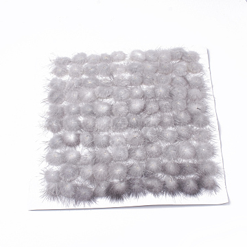 Faux Mink Fur Ball Decoration, Pom Pom Ball, For DIY Craft, Gainsboro, 3.5~4cm; about 50pcs/board(FIND-S267-4cm-11)