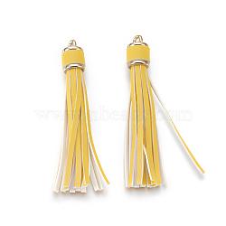Многофункциональная кожзаменитель кисточки мобильные ремни, со сплавочной фурнитурой, золотые, светлый хаки, 105x15 мм(MOBA-L002-12)