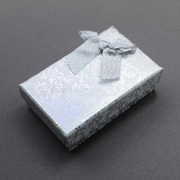 Silver Rectangle Cardboard Jewelry Set Box