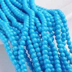 """Perles en verre peintes, cuisson des peintures, rond, bleu foncé, 4 mm; trou: 1.1~1.3 mm, Environ 200 pcs/chapelet, 31.4""""(X-DGLA-S071-4mm-12)"""