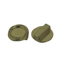 Breloques coulissantes supports de cabochon en alliage de style tibétain, sans cadmium et sans plomb et sans nickel, plat rond, bronze antique, plateau: 10 mm; 15x15x6.5 mm, Trou: 3x11mm(X-TIBE-Q070-82AB-NR)