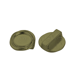 Tibetan Style Alloy Slide Charms Cabochon Settings, Cadmium Free & Lead Free & Nickel Free, Flat Round, Antique Bronze, Tray: 10mm; 15x15x6.5mm, Hole: 3x11mm(X-TIBE-Q070-82AB-NR)