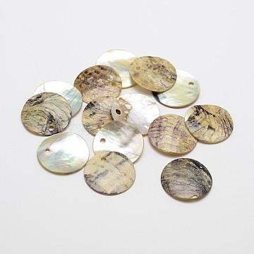 Flat Round Natural Akoya Shell Pendants, Mother of Pearl Shell Pendants, Tan, 17.5x1mm, Hole: 1mm; about 1440pcs/bag(SHEL-N031-11)