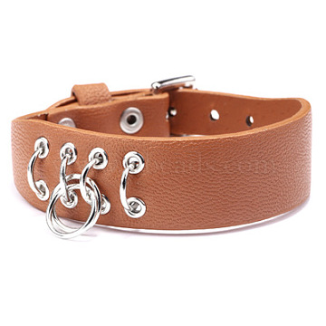 Adjustable PU Leather Watch Bands/Bracelets, with Alloy Findings, Iron Rings, Orange, 8-5/8inches(22cm); 19mm(WACH-F053-A01)