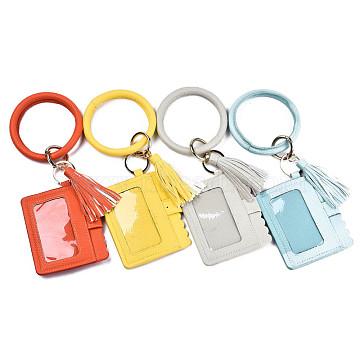 Multifunctional PU Leather Wristlet Circle Key Ring Bangle Card Pocket, Tassel Bangle Key Ring Card Holder, for Women Girls, Mixed Color, 11-1/4 inch(28.5cm)(AJEW-T011-01)