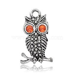 Anciennes pendentifs alliage d'argent strass de hibou pour des bijoux de halloween, light siam, 26x12x5mm, Trou: 3mm(ALRI-J058-21AS)
