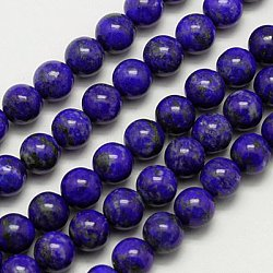 Natural Lapis Lazuli Beads Strands, Grade A, Round, 8mm, Hole: 1mm; about 46~48pcs/strand, 16inches