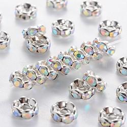 латунные горный хрусталь Spacer бисер, бисер, класс, ясно, белый, с AB Цвет горный хрусталь, серебристый цвет, никель свободный, размер: около 6 mm в диаметре, 3 mm; отверстия: 1 mm(RSB028NF-02)