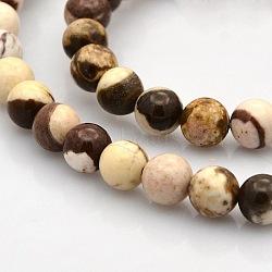 """Rondes zébrées naturelle perles de jaspe brins, 6mm, trou: 1mm; environ 61 pcs/chapelet, 15.7""""(G-N0120-41-6mm)"""