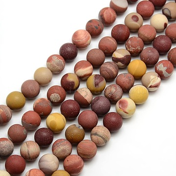 Frosted Natural Mookaite Round Bead Strands, 12mm, Hole: 1mm; about 30~32pcs/strand, 14.9~15.6inches(G-M064-12mm-11)