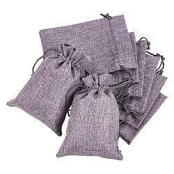 Pochettes en toile de jute, sacs à cordonnet, gainsboro, 14x10 cm(ABAG-BC0001-09E)
