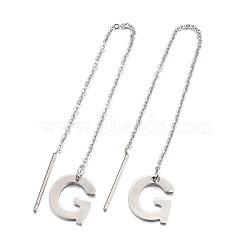 304 boucle d'oreille en acier inoxydable, fils d'oreille, alphabet, letter.g, 107~112x1mm; broche: 15x0.7 mm; lettre: 11x9.5x0.5mm(EJEW-L205-01G)