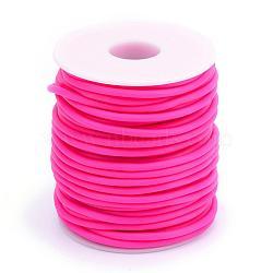 Tuyau creux corde en caoutchouc synthétique tubulaire pvc, enroulé aurond de plastique blanc bobine, camélia, 3mm, trou: 1.5 mm; environ 25 m / rouleau(RCOR-R007-3mm-11)