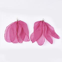 органза из ткани большие подвески, с железными находками и пластиковой искусственной жемчужиной, цветок, светлое золото, Hotpink, 140~180 mm, отверстия: 2.5x4 mm(FIND-S303-01J)