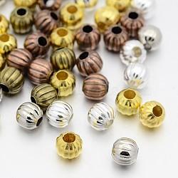 Perles ondulées en fer, rond, couleur mixte, 6mm, trou: 2 mm; environ 650 pcs / 200 g(IFIN-X0030-6mm)