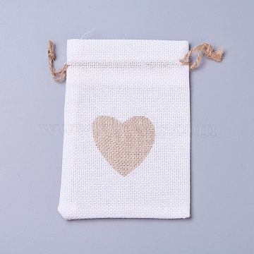 Burlap Packing Pouches, Drawstring Bags, Rectangle with Heart, White, 14.2~14.5x10cm(ABAG-I001-03B)