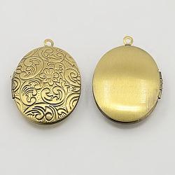 Pendentifs de médaillon en laiton, breloques de cadre de photo pour le collier, bronze antique, ovale, environ 24 mm de large, Longueur 34mm, Trou: 2mm(X-ECF133-1AB)