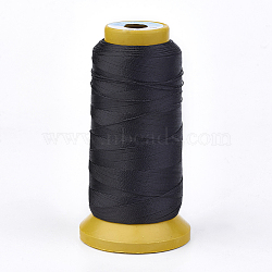 Polyester Thread, for Custom Woven Jewelry Making, Black, 0.5mm; about 480m/roll(NWIR-K023-0.5mm-14)