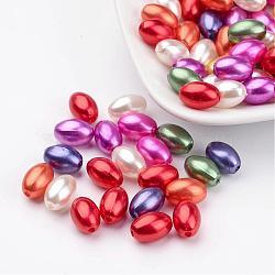 Abs en plastique mélangé perles d'imitation perles perles de riz, 11x7.5mm, Trou: 1mm(X-MACR-G007-M)