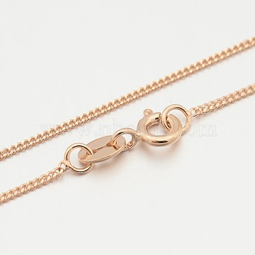 925 Sterling Silver Curb Chain Necklaces, with Spring Ring Clasps, Thin Chain, Rose Gold, 16 inches, 1mm(STER-M086-11A)