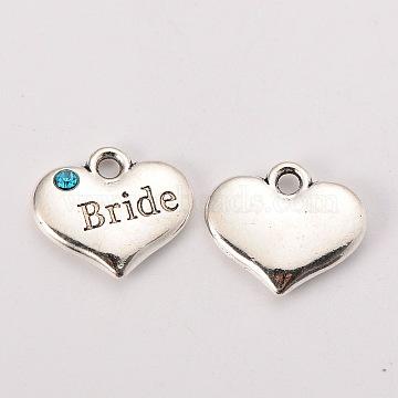 Wedding Theme Antique Silver Tone Tibetan Style Heart with Bride Rhinestone Charms, Aquamarine, 14x16x3mm, Hole: 2mm(X-TIBEP-N005-12A)