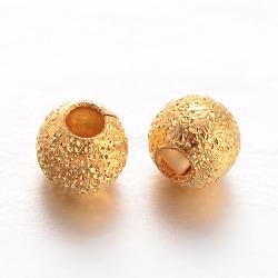 Perles rondes en laiton texturées, or, 3mm, Trou: 1mm(X-KK-L129-23G)