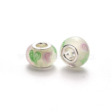 Handmade Lampwork European Beads, Large Hole Rondelle Beads, with Platinum Tone Brass Double Cores, Floral White, 14~16x9~10mm, Hole: 5mm(LPDL-N001-056-F10)