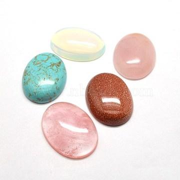 Cabochons en pierres gemmes, ovale, pierre mixte, couleur mixte, 18x13x6mm(G-G529-13x18mm-M2)