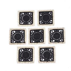 décorations en polyester, avec les résultats de strass et de laiton, carré, or et de lumière, noir, 34~34.5x34~34.5x2 mm(FIND-T044-08A)