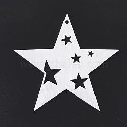 gros pendentifs en aluminium, laser coupé gros pendentifs, étoiles, argent, 50x47x1 mm, trou: 1.5 mm(X-ALUM-T001-82S)