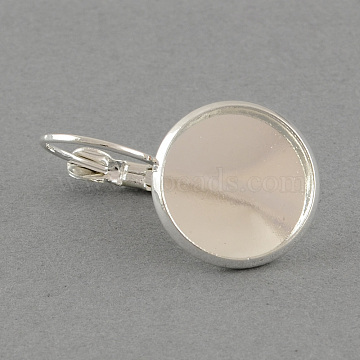 Brass Leverback Earring Findings, with Flat Round Tray, Silver Color Plated, Tray: 12mm; 26x14mm, pin: 0.7mm(X-MAK-S003-12mm-EN001S)