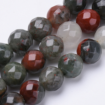 Natural African Bloodstone Beads Strands, Heliotrope Stone Beads, Faceted, Round, 10mm, Hole: 1.2mm; about 37pcs/strand, 15.3inches(G-S281-21-10mm)