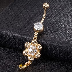 Piercing Jewelry, Environmental Brass Cubic Zirconia Navel Ring, Belly Rings, with Use Stainless Steel Findings, Real 18K Gold Plated, Flower, Olive Drab, 55x15mm(AJEW-EE0003-20B)