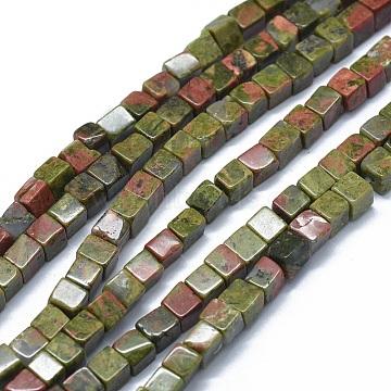 3mm Cube Unakite Beads